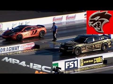 Dodge Charger Hellcat vs McLaren MP4-12C GoldRush Rally 1/4 Mile Drag Racing