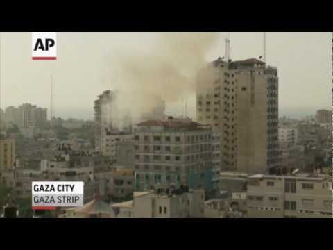 Raw: Airstrike Hits Gaza Media Center