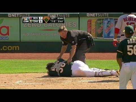 BOS@OAK: Norris gets hit on backswing, leaves game