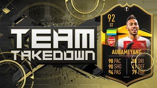 THE HARDEST SQUAD BUILDING SERIES EVER!!! 92 EUROPA LEAGUE TOTKS AUBAMEYANG!!! Fifa 19 Team Takedown