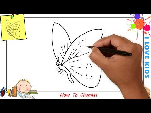 How to draw a butterfly EASY step by step for kids, beginners, children 9