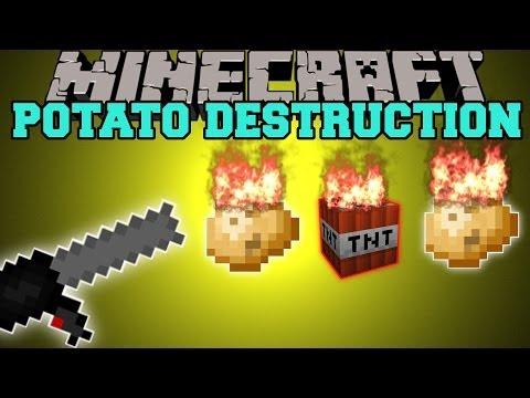 Minecraft: POTATO DESTRUCTION! (EXPLOSIVE, LIGHTNING, & FIRE GUNS!) Mod Showcase