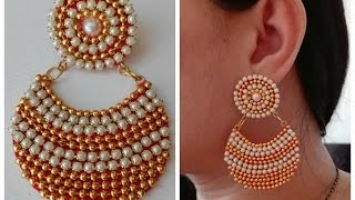 How To Make Chandbali Earrings||Made out of paper / Tutorial / Design 3