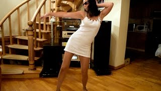 Wriggle and Twist in nude pantyhose and short white dress.