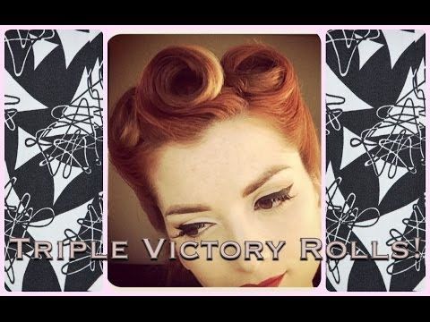 Triple Victory Roll Vintage Hair With Low Bun by CHERRY DOLLFACE