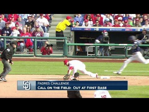 SD@PHI: Umpires rule Ramirez safe after a challenge
