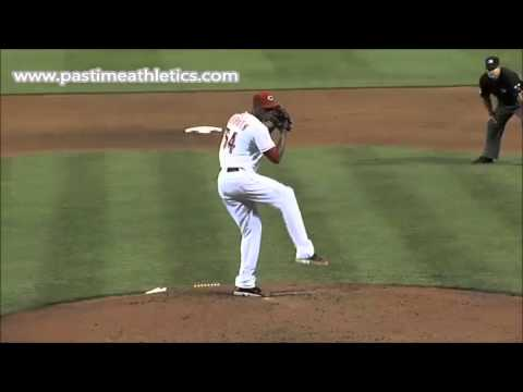 Aroldis Chapman Slow Motion Pitching Mechanics - Baseball Pitcher Analysis Cincinnati Reds