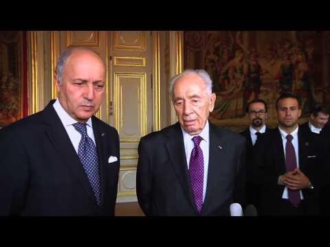 Proche-Orient - Entretien de Laurent Fabius avec Shimon Pérès (Paris, 16 décembre 2014)