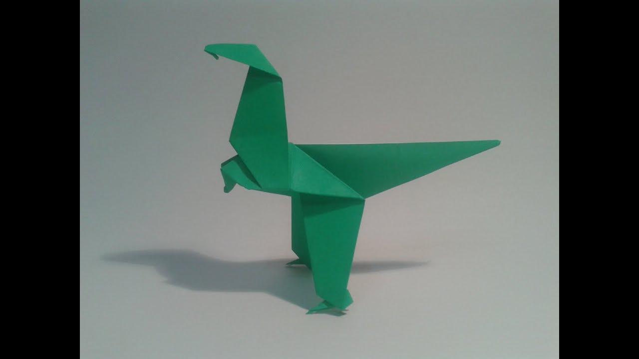 Como hacer un dinosaurio de papel sencillo (Velociraptor) - YouTube