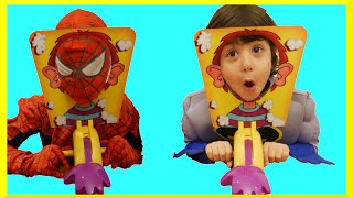 Spiderman VS Batman Pie Face Challenge Whip Cream on Face Family Fun Game Night Egg Surprise Toys
