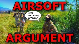 Army Guy gets OWNED by Little Kid (Airsoft Rage, Argument)