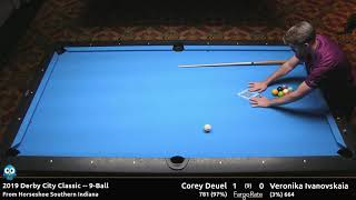 Corey Deuel vs Veronika Ivanovskaia - 9-Ball - 2019 Derby City Classic