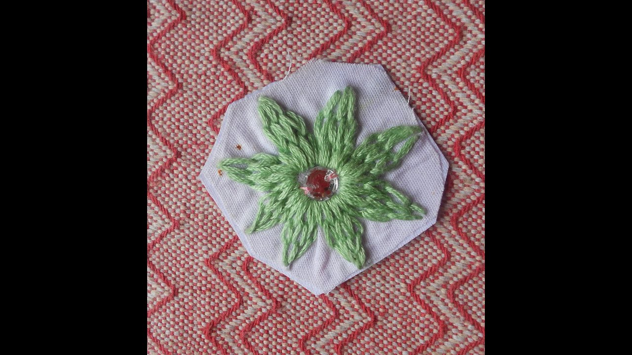 HAND EMBROIDERY SEW A FLOWER USING SIMPLE CHAIN STITCH