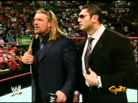 Triple H after winning the World Heavyweight Championship at New Year's Revolution 2005