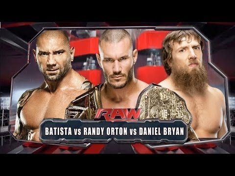 Wwe Raw 2014 - Batista Vs Daniel Bryan Vs Randy Orton - Full Match Hd video