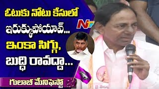 CM KCR Satirical Comments On CM Chandrababu Naidu | TRS Manifesto | NTV
