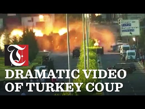 Explosions in CCTV footage of Turkey Coup
