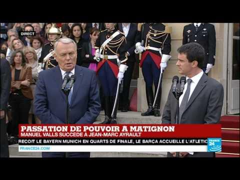 Passage de témoin de Jean-Marc Ayrault à Manuel Valls