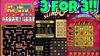 PERFECT SESSION!! $5 Ms. Pac Man, $3 Slingo & $2 Loteria Washington Lottery Tickets