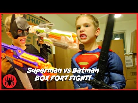 Superman vs Batman Box Fort Fight! kids nerf superhero real life movie SuperHeroKids thumbnail