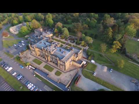 Mar Hall Bishopton from above. Drone footage at dusk.