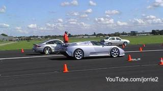 997 Turbo vs. Bugatti EB110 SS airstrip dragrace!