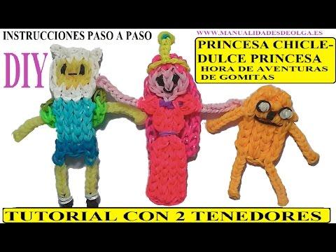 COMO HACER A LA PRINCESA CHICLE O DULCE PRINCESA DE HORA DE AVENTURAS DE GOMITAS (LIGAS)