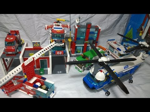 Lego City set! Fire Station Lego Fire Engine and Garbage Truck and Police Helicopter