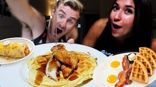 """THE """"BREAKFAST FOR DINNER"""" COUPLES MUKBANG! (RECIPE + DINNER)"""