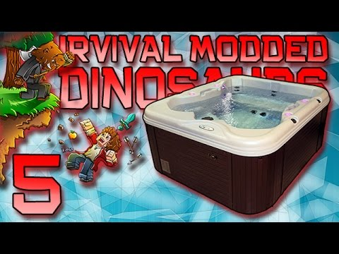 Minecraft: Modded Dinosaur Survival Let's Play w/Mitch! Ep. 5 - HOT TUB!