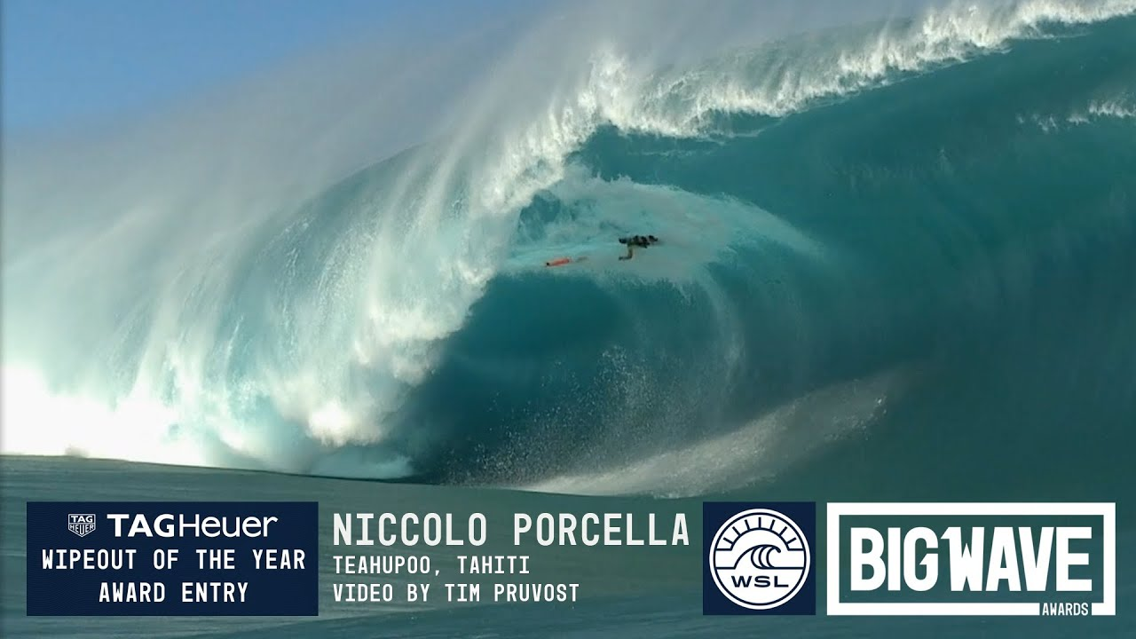 Niccolo Porcella  at Teahupoo 2 - 2016 TAG Heuer Wipeout Entry - WSL Big Wave Awards