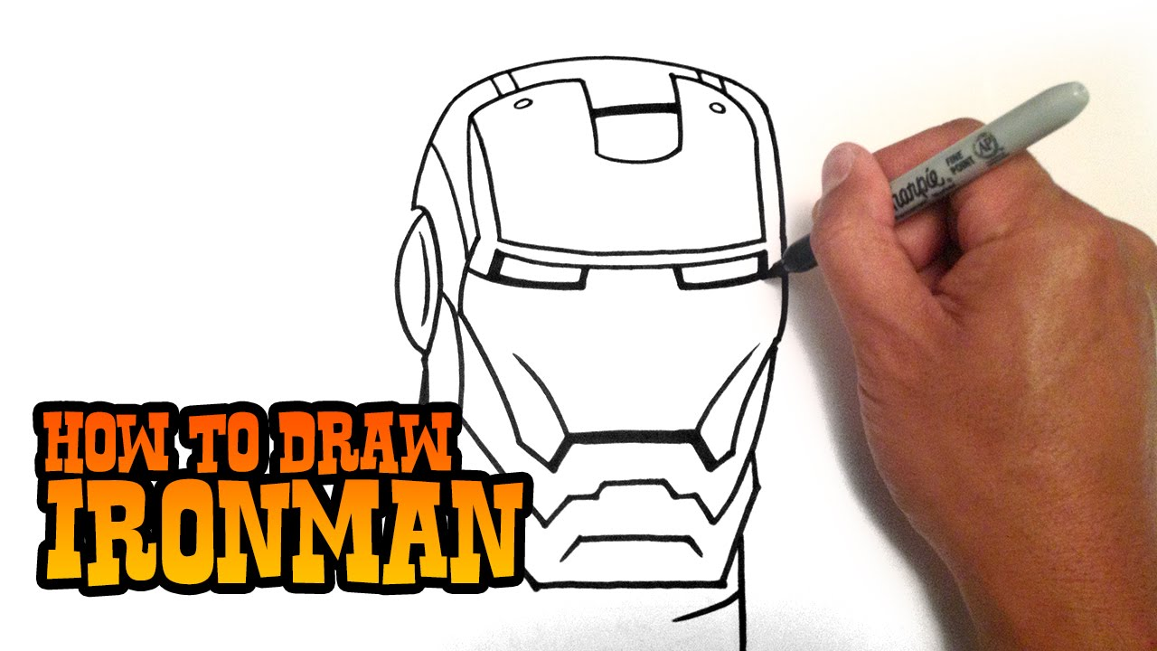 Ironman Helmet Drawing How to Draw Ironman Step by