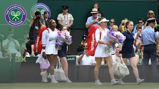 Simona Halep and Serena Williams enter Centre Court for Wimbledon 2019 Final