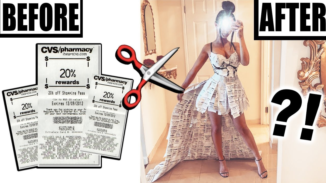 MAKING A DRESS OUT OF CVS RECEIPTS!