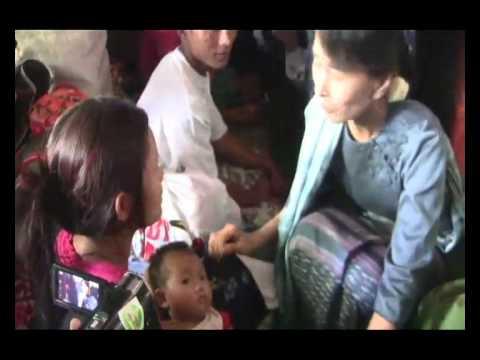Daw Aung San Suu Kyi comforts fire blast victims (full)
