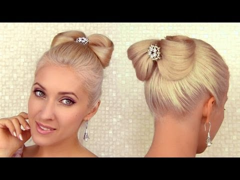 Elegant holiday updo hairstyle for medium long hair Hair bow tutorial for Christmas, New Year's eve
