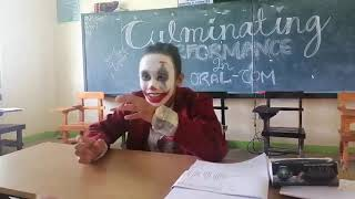 A student impersonates a famous Heath Ledger's Joker scene