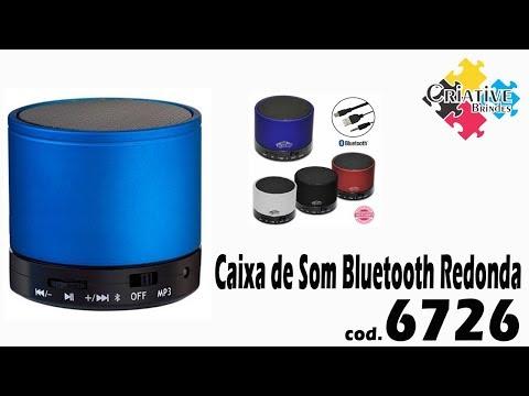 Caixa de Som Bluetooth Redonda 6726 Personalizada - Criative Brindes