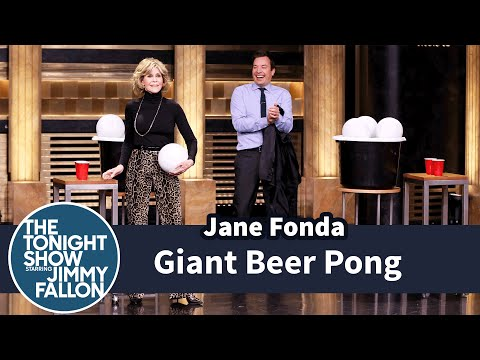 Giant Beer Pong with Jane Fonda