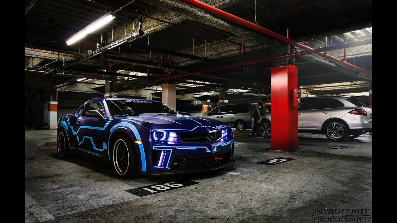 Tron Camaro Electric Blue Car Wrap Exotic And Wild