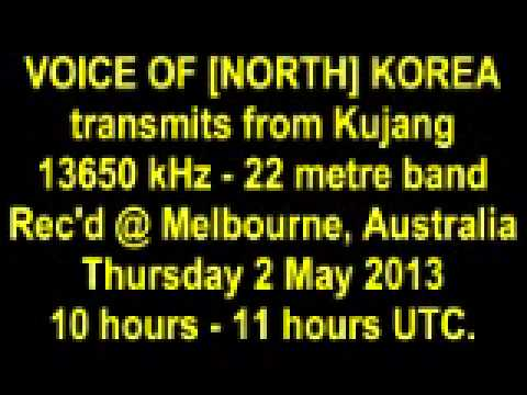 VOICE OF KOREA [NORTH] shortwave Thursday 2 May 2013