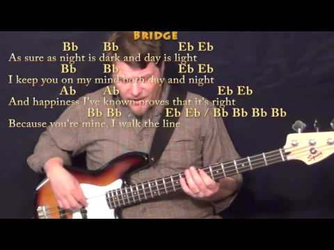 I Walk The Line - Bass Guitar Cover Lesson In F With Lyrics/Chords