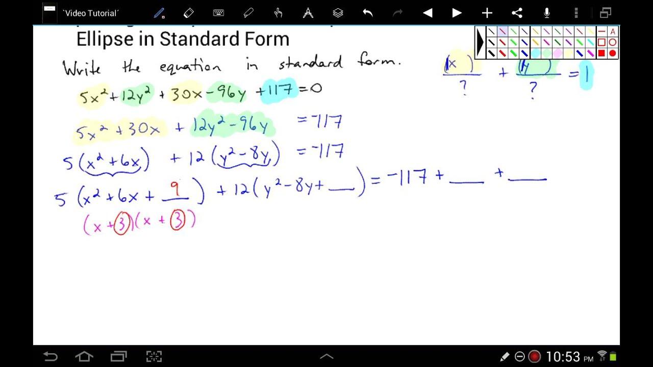 Standard form of an ellipse standard form of an ellipse of an ellipse in standard falaconquin