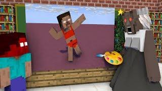 Monster School : DRAWING CHALLENGE VS GRANNY HORROR - Minecraft Animation