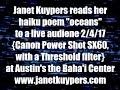 "Janet Kuypers' haiku ""oceans"" live 2/4/17 @ the Baha'i Faith Center in Austin (CpsSX60 Threshold)."