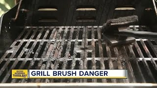 Metal bristle from grill brush punctures woman