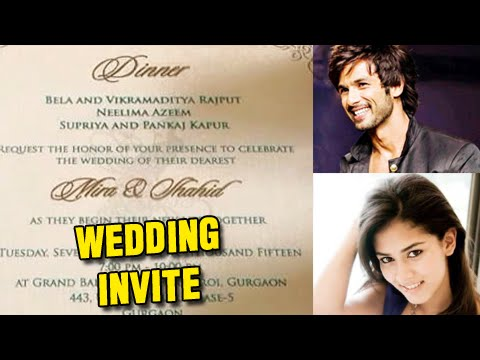 Leaked! Shahid-Mira's Wedding Dinner Invitation - Check Out!