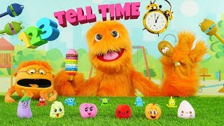 Fuzzy Puppet Learns How To Count & How To Tell Time! Telling Time For Children 😄 Learning the Clock