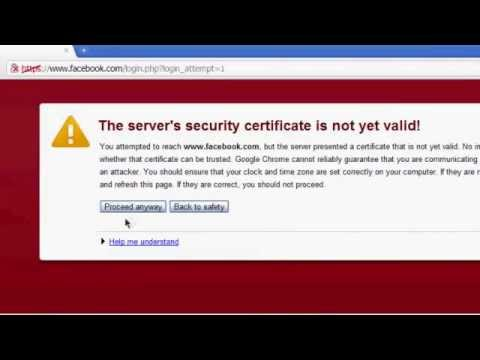 "how to fix ""the server's security certificate is not yet valid!"" ssl"