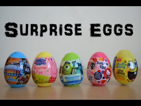 Surprise Eggs Monsters university Sponge bob Skylanders giants Hello kittyPeppa PIg  Unwrapping (HD